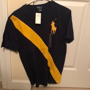 Navy Blue and Gold Boys Polo T shirt